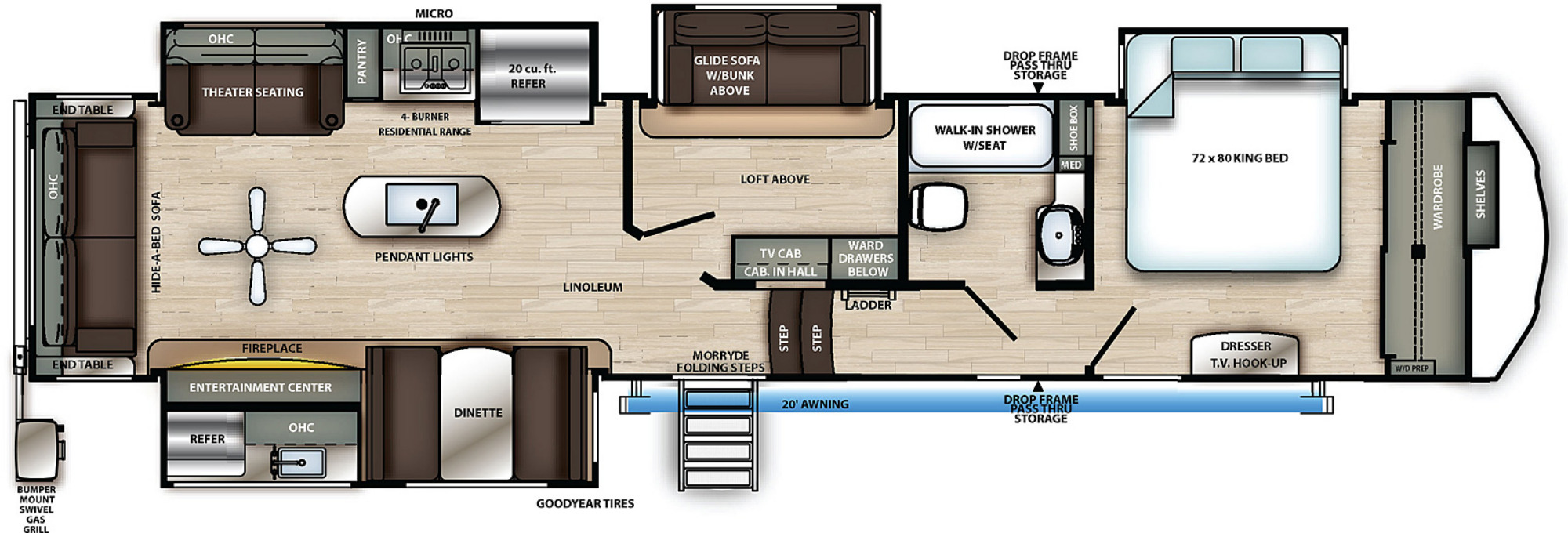 View Floor Plan for 2021 FOREST RIVER SANDPIPER 372LOK