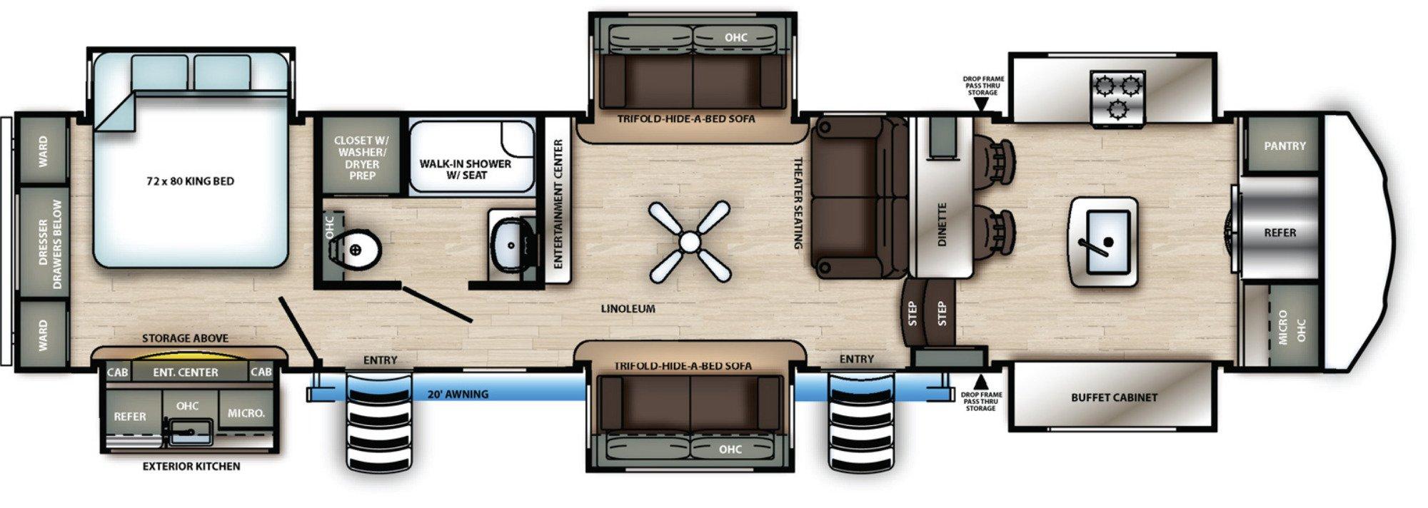 View Floor Plan for 2021 FOREST RIVER SIERRA 38FKOK