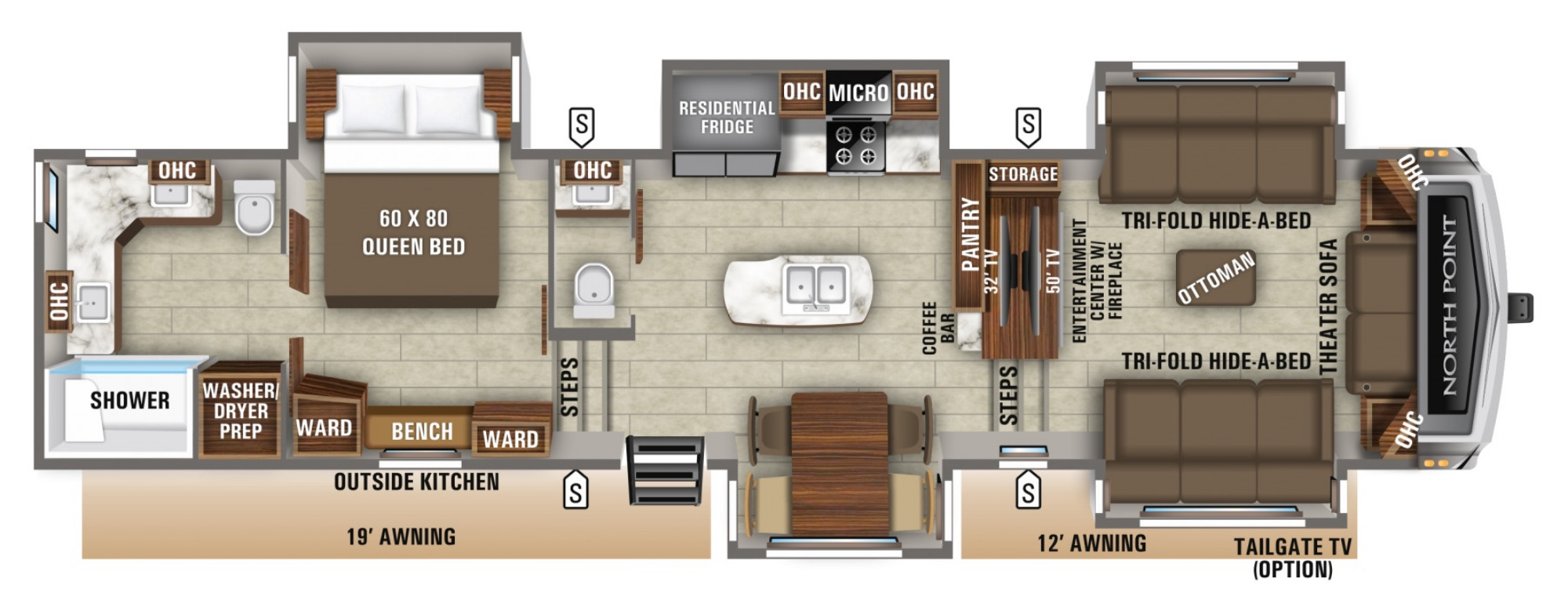 View Floor Plan for 2021 JAYCO NORTH POINT 382FLRB