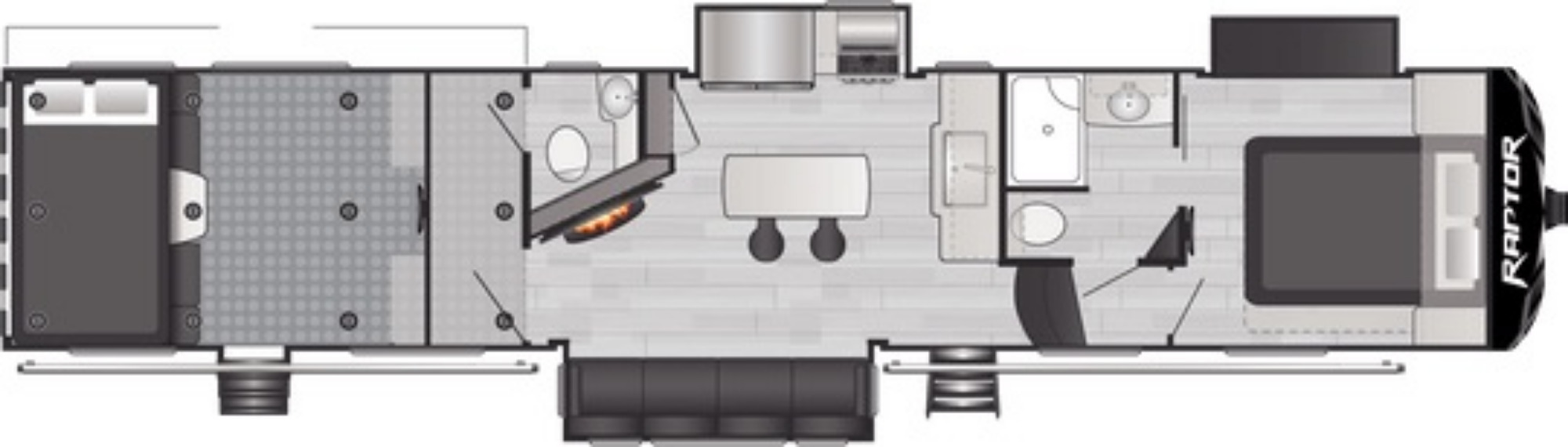 View Floor Plan for 2021 KEYSTONE RAPTOR 415