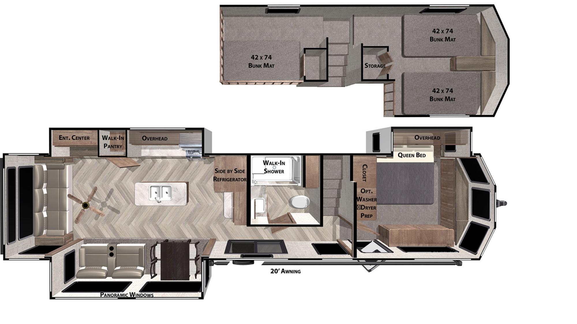 View Floor Plan for 2021 FOREST RIVER SALEM VILLA GRAND 42DL