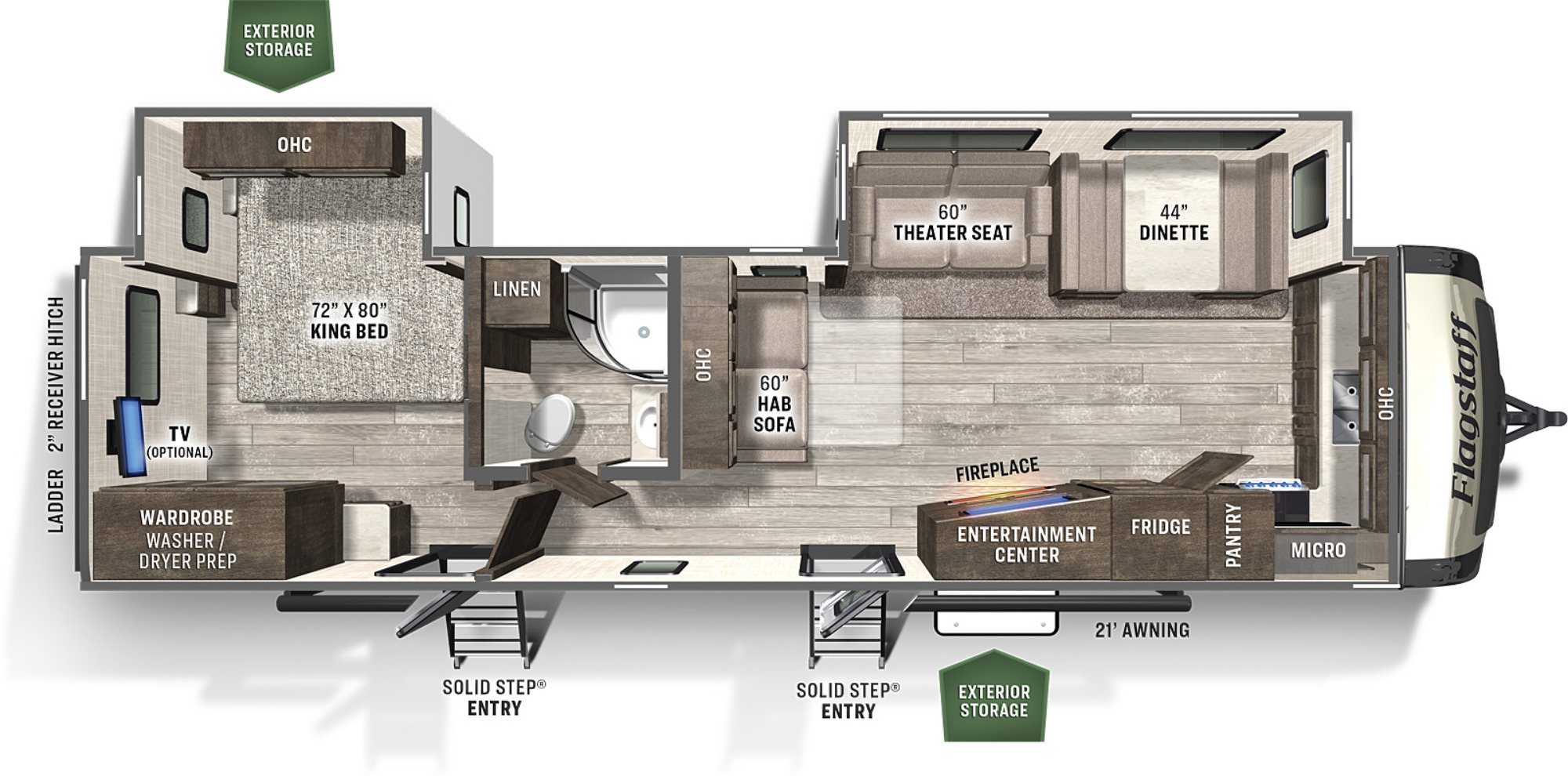 View Floor Plan for 2021 FOREST RIVER FLAGSTAFF CLASSIC SUPER LITE 832CLSB
