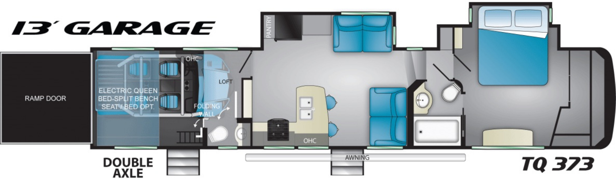 View Floor Plan for 2021 HEARTLAND TORQUE 373