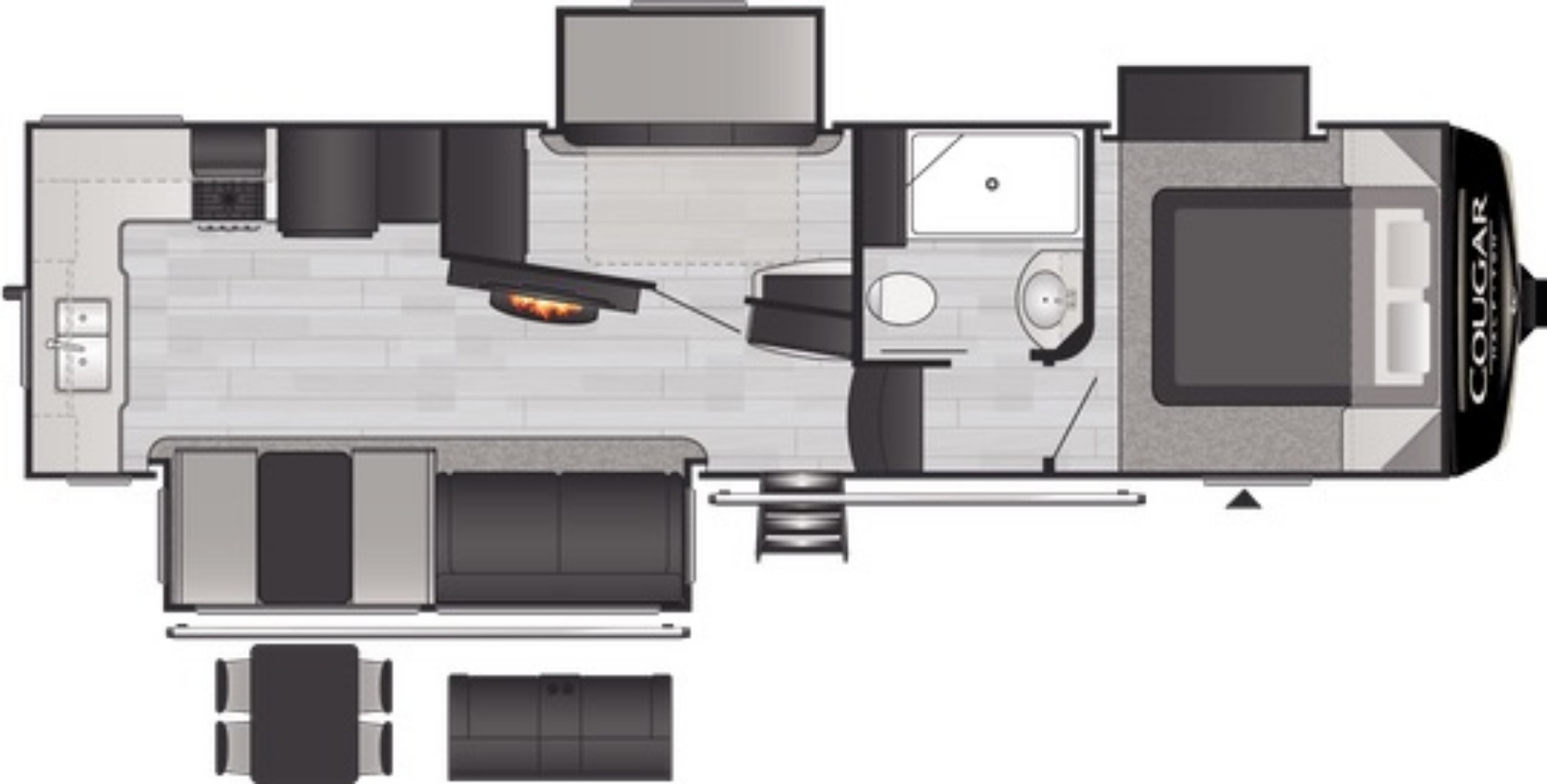 View Floor Plan for 2021 KEYSTONE COUGAR 29MBS