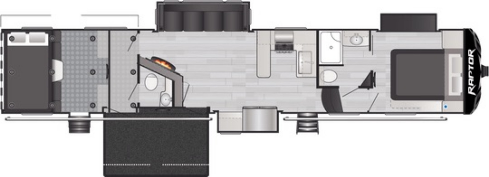 View Floor Plan for 2021 KEYSTONE RAPTOR 429