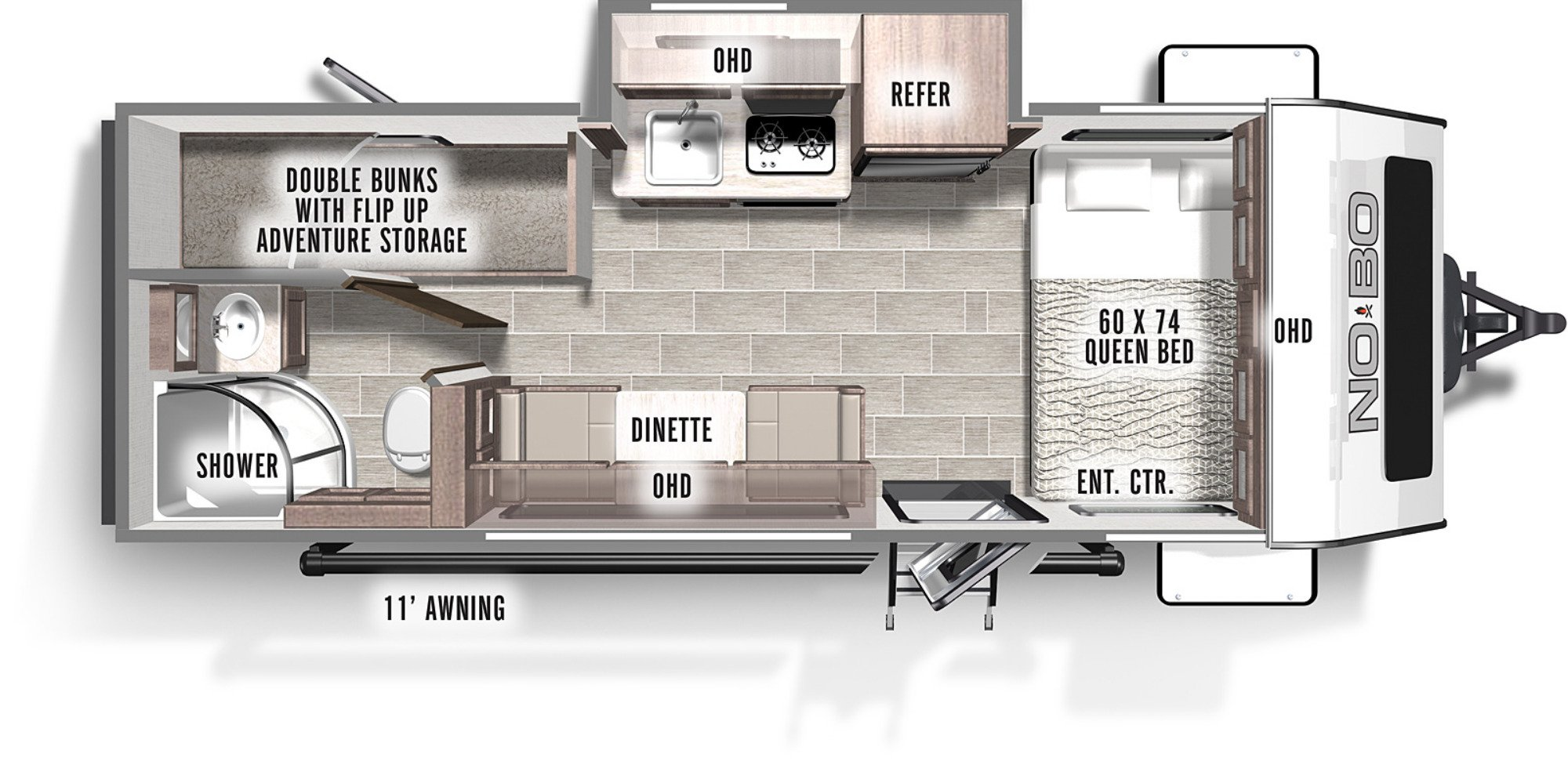 View Floor Plan for 2021 FOREST RIVER NO BOUNDARIES 16.6