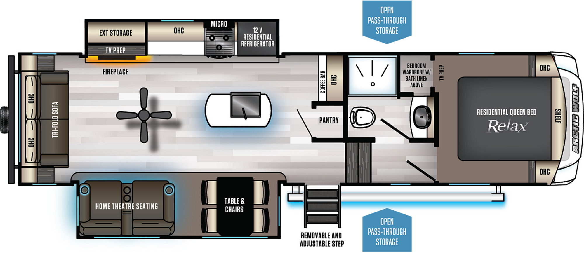 View Floor Plan for 2021 FOREST RIVER ARCTIC WOLF 291RL