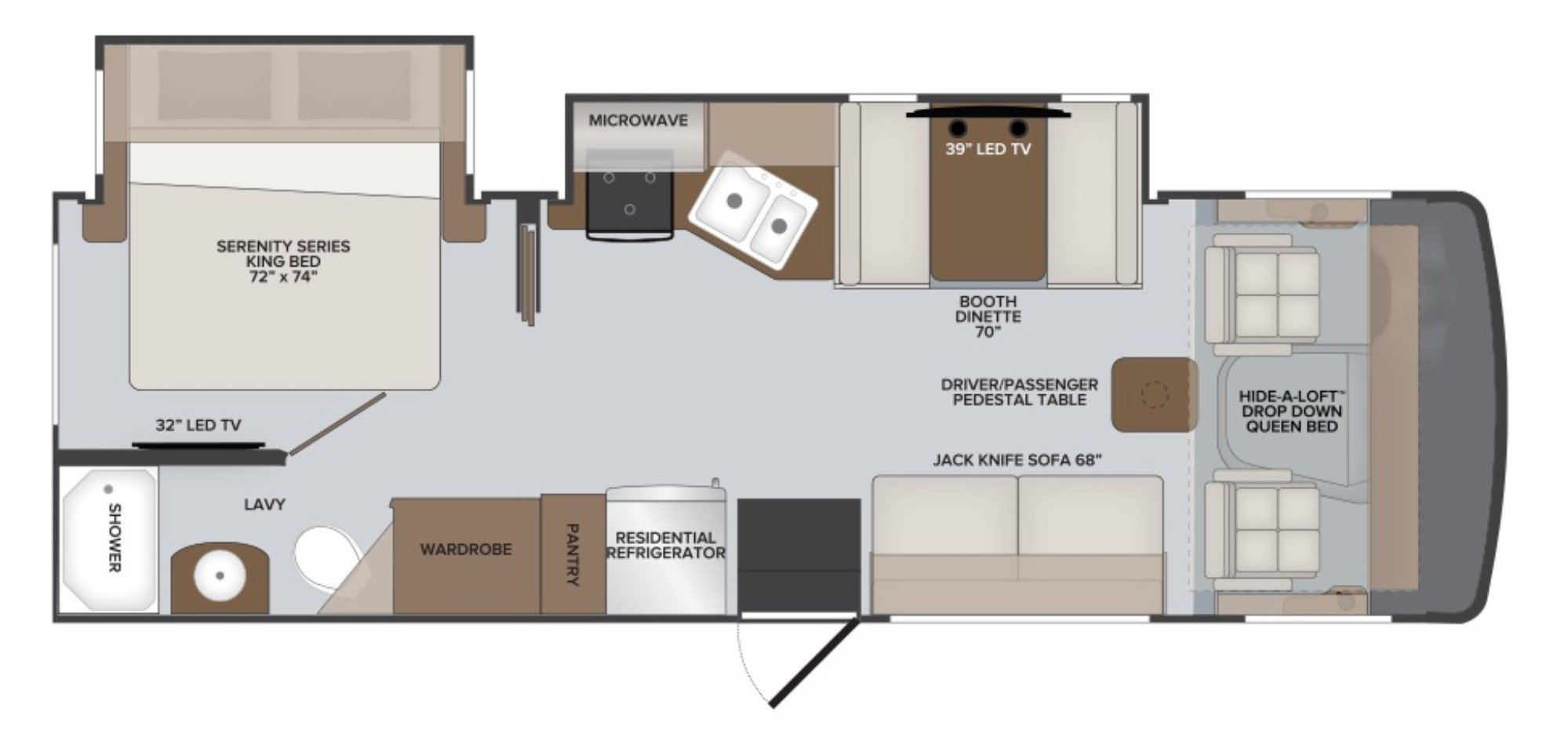 View Floor Plan for 2021 HOLIDAY RAMBLER ADMIRAL 28A