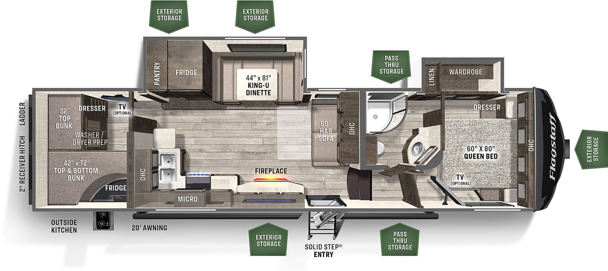 View Floor Plan for 2021 FOREST RIVER FLAGSTAFF SUPER LITE 529BH