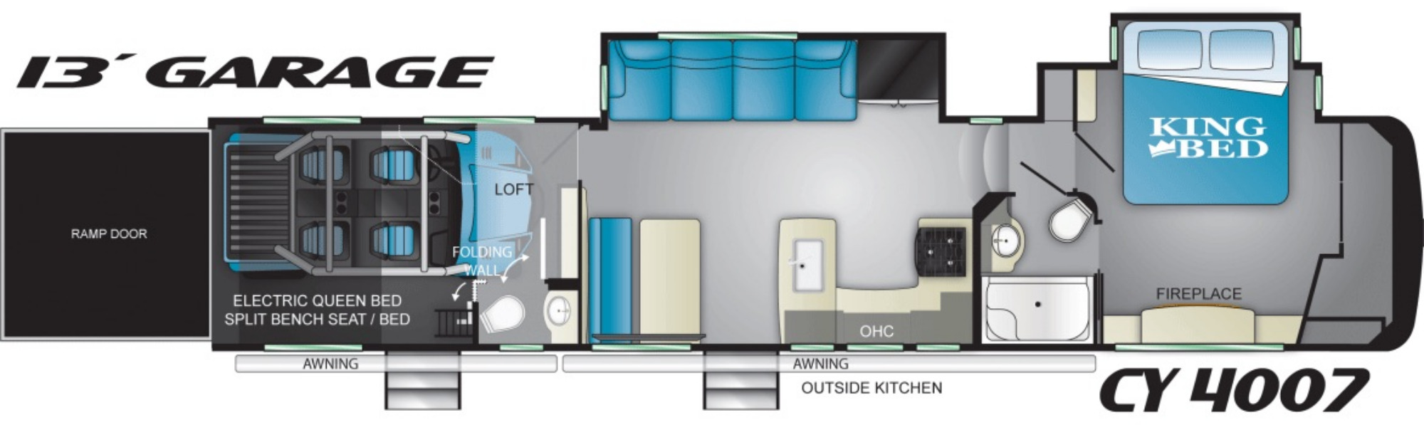 View Floor Plan for 2021 HEARTLAND CYCLONE 4007