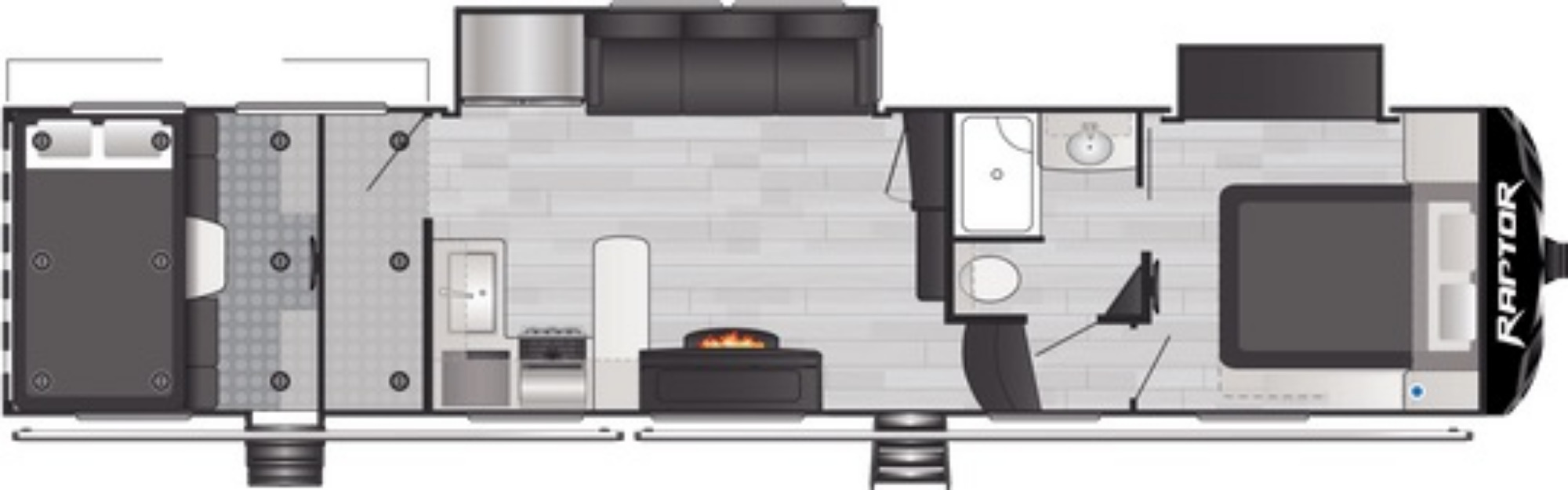 View Floor Plan for 2021 KEYSTONE RAPTOR 351