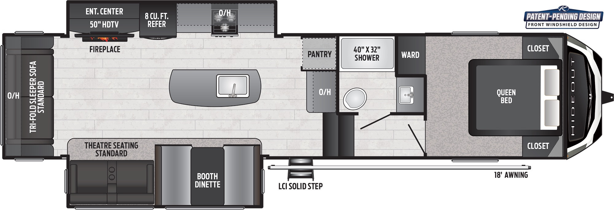 View Floor Plan for 2021 KEYSTONE HIDEOUT 300RLDS