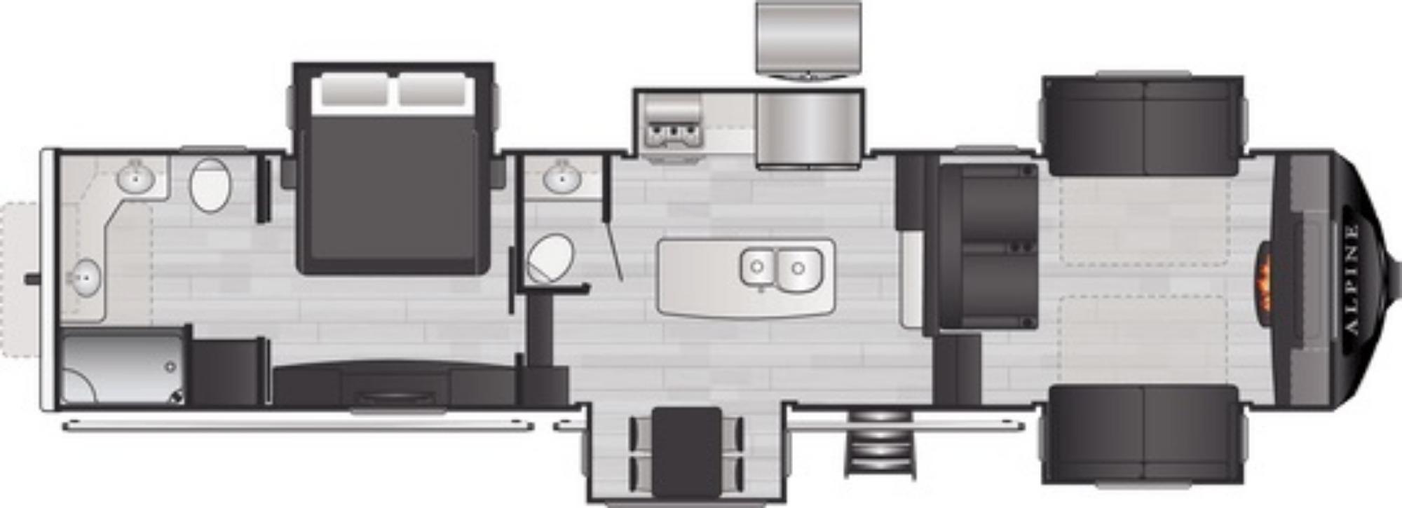 View Floor Plan for 2021 KEYSTONE ALPINE 3700FL