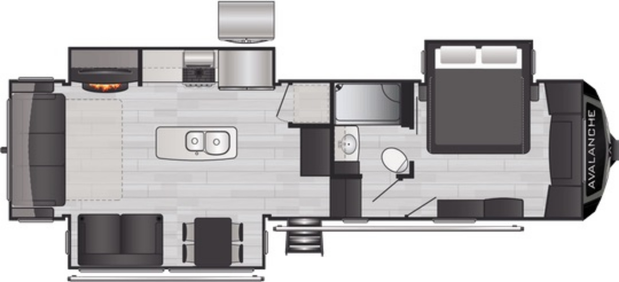 View Floor Plan for 2021 KEYSTONE AVALANCHE 312RS