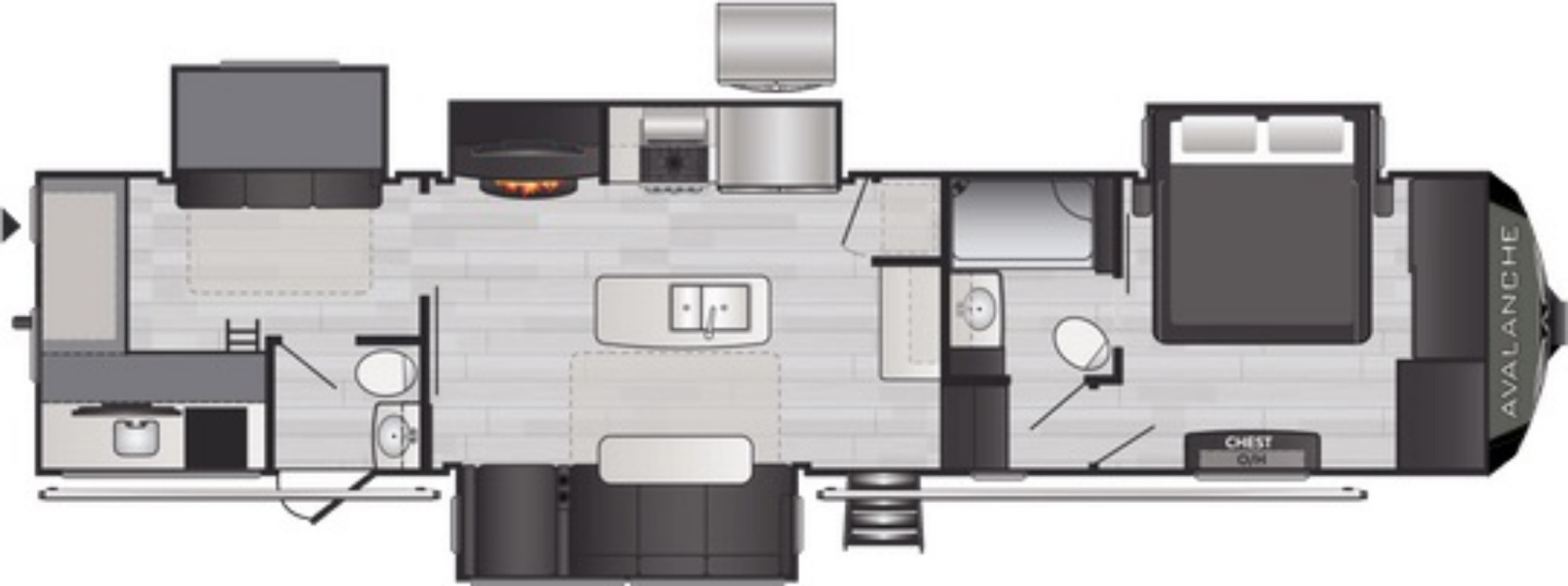 View Floor Plan for 2021 KEYSTONE AVALANCHE 378BH