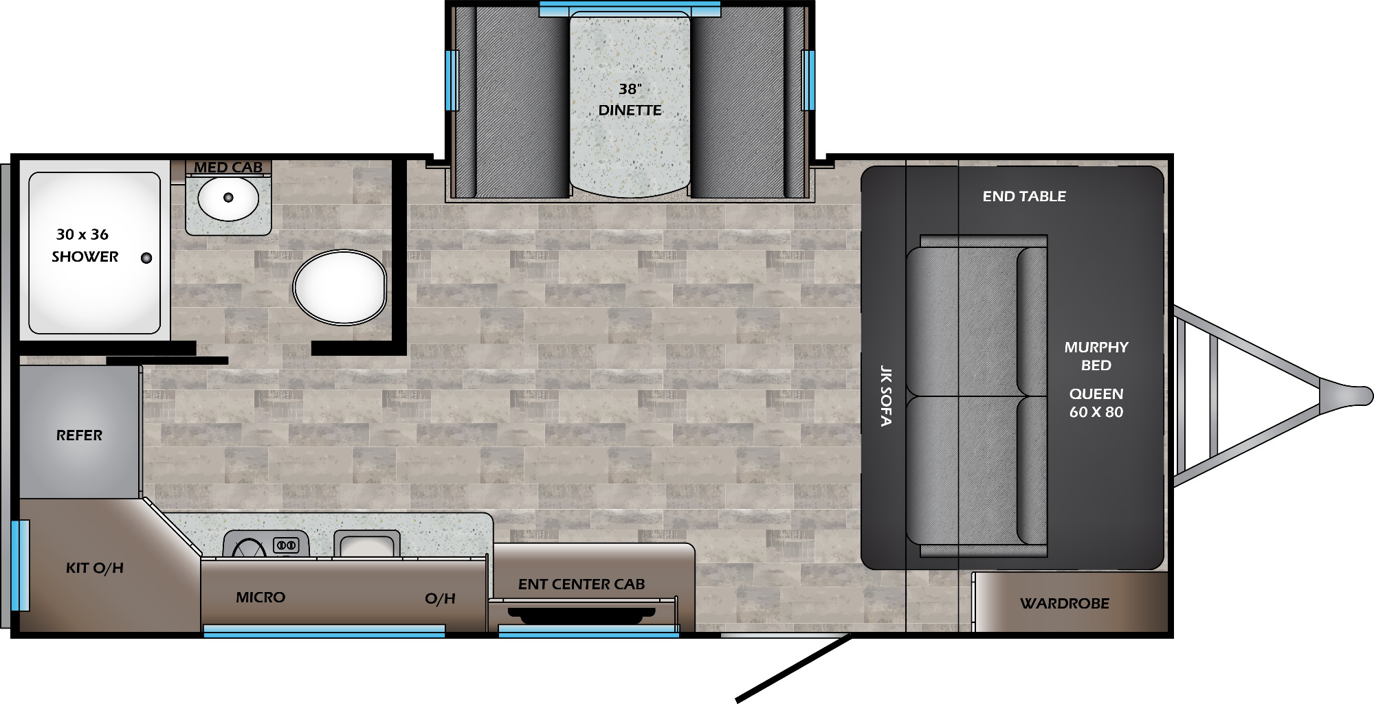 View Floor Plan for 2021 CROSSROADS SUNSET TRAIL 185RK