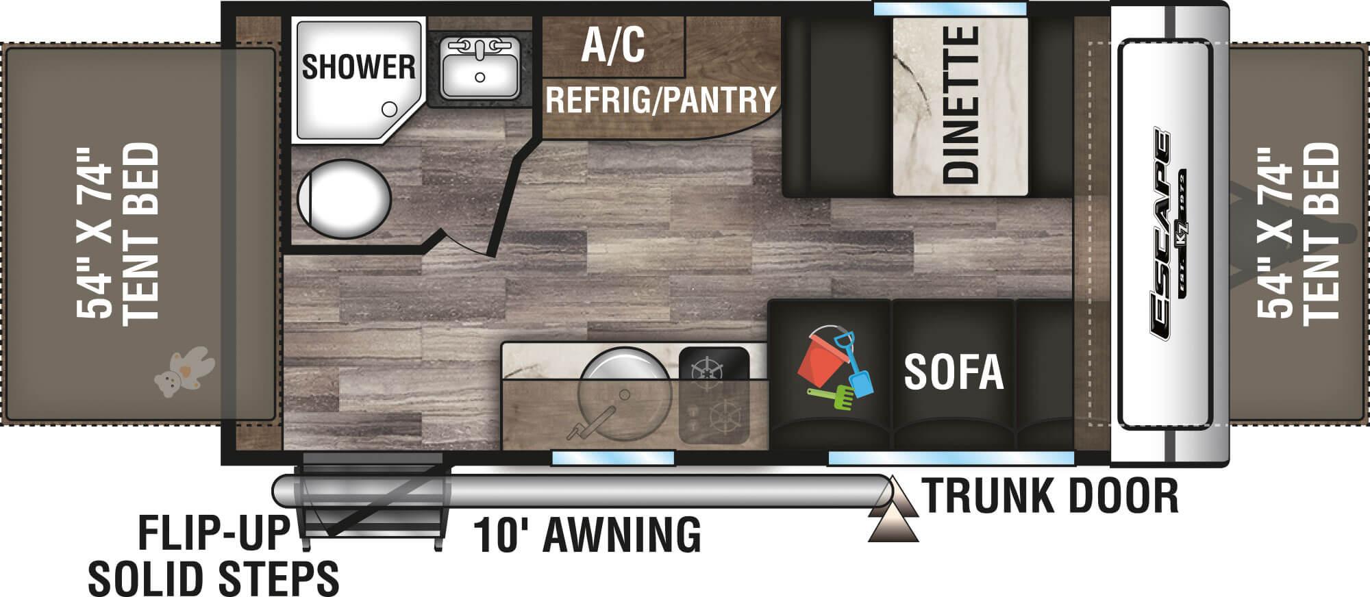 View Floor Plan for 2021 K-Z RV ESCAPE 160RBT