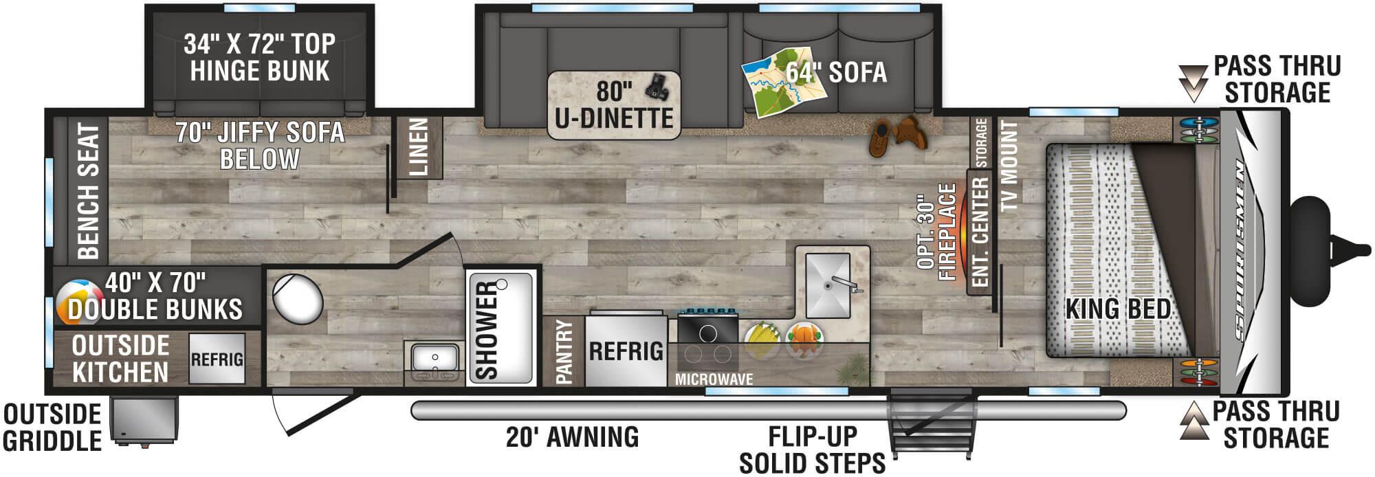 View Floor Plan for 2021 K-Z RV SPORTSMEN LE 332BHKLE