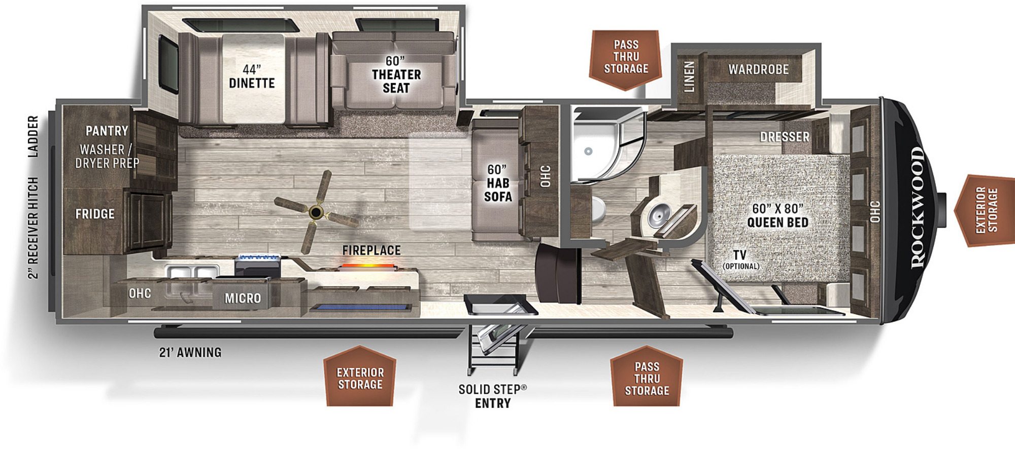 View Floor Plan for 2021 FOREST RIVER ROCKWOOD ULTRA LITE 2881S