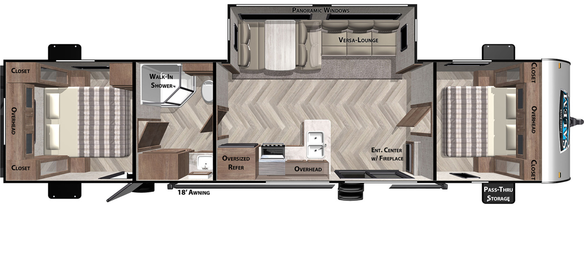 View Floor Plan for 2021 FOREST RIVER SALEM 37BHSS2Q