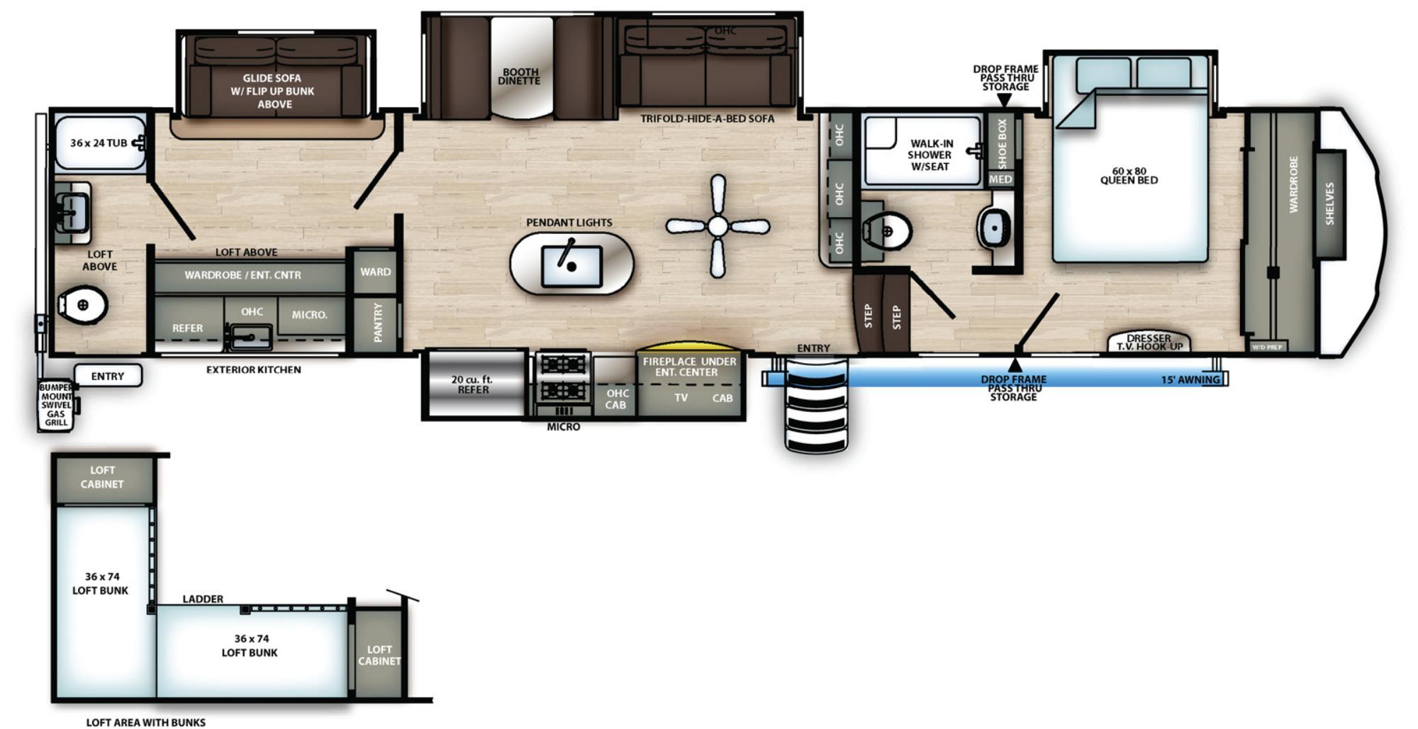 View Floor Plan for 2021 FOREST RIVER SIERRA 383RBLOK