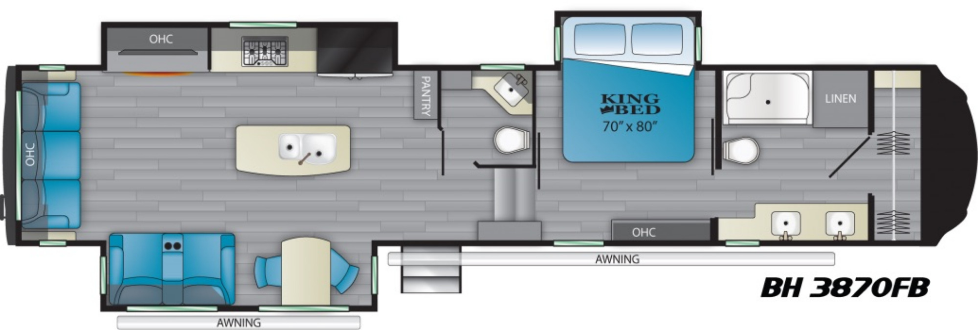 View Floor Plan for 2021 HEARTLAND BIGHORN 3870FB