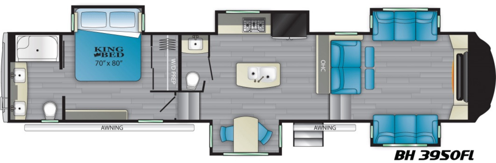 View Floor Plan for 2021 HEARTLAND BIGHORN 3950FL