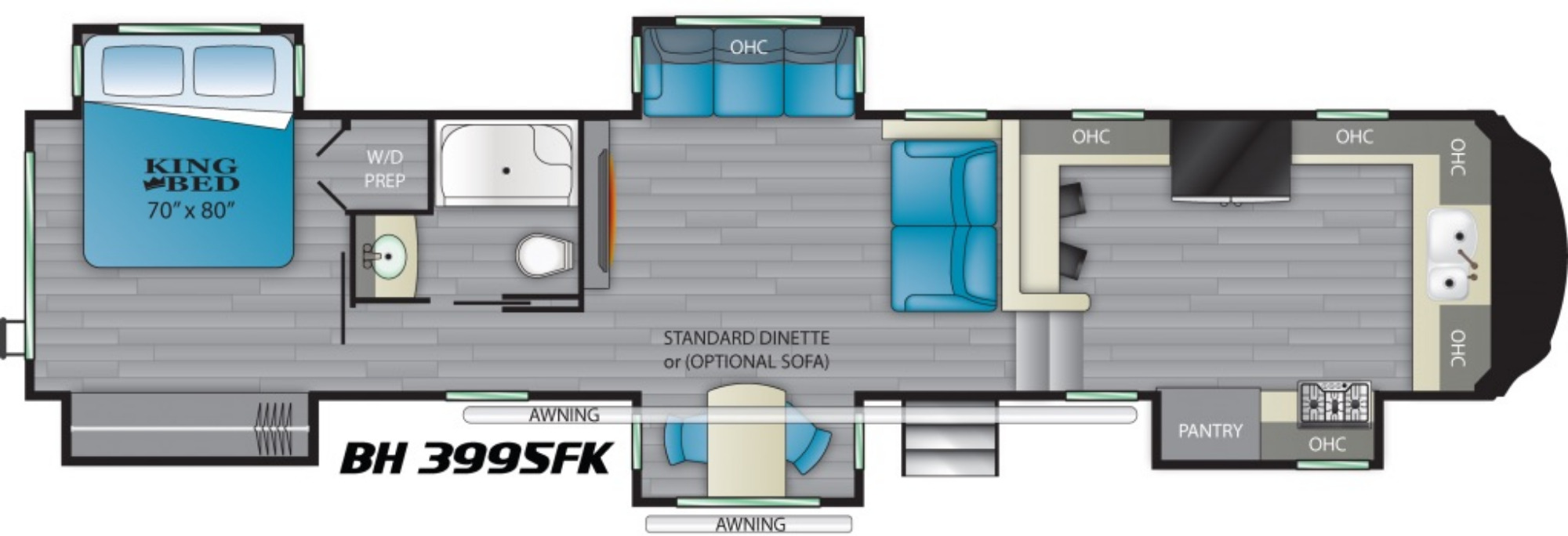 View Floor Plan for 2021 HEARTLAND BIGHORN 3995FK