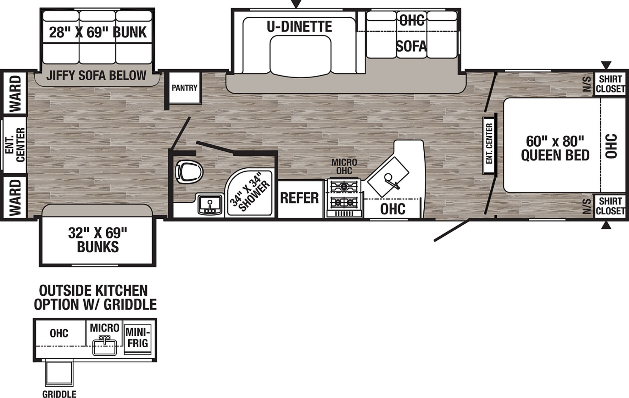 View Floor Plan for 2021 FOREST RIVER PUMA 31DBTS