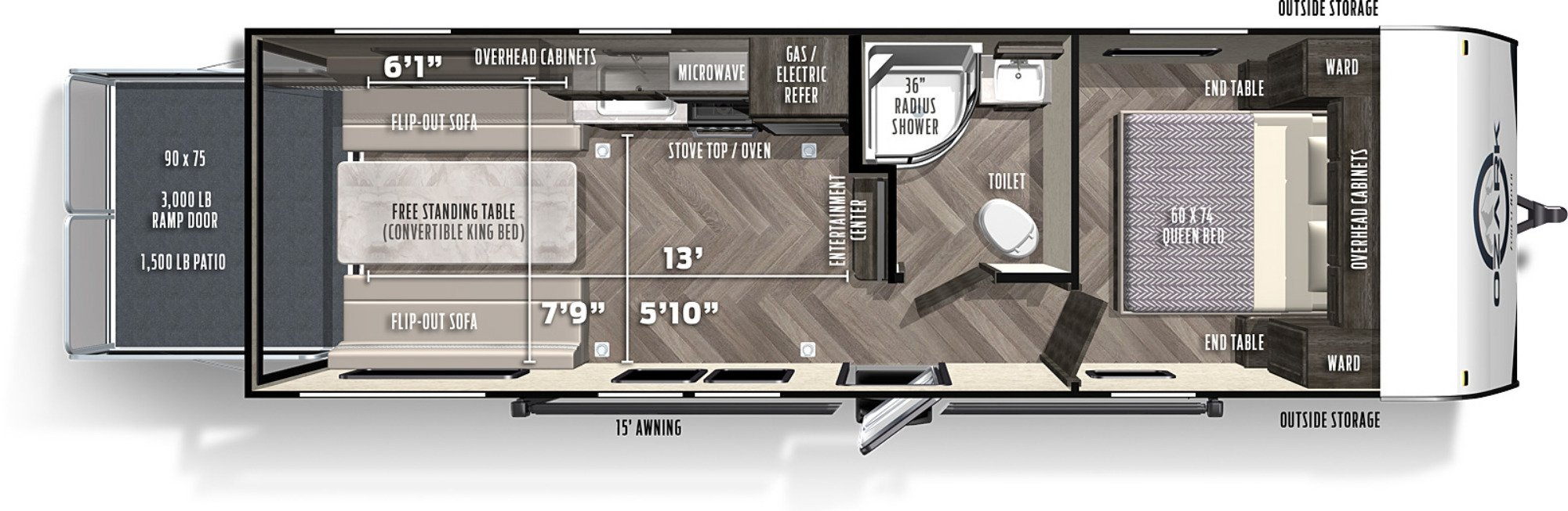 View Floor Plan for 2021 FOREST RIVER OZARK 2500TH