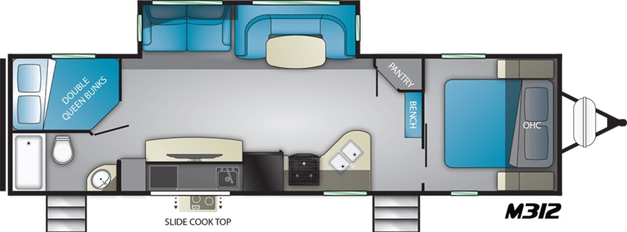 View Floor Plan for 2021 HEARTLAND MALLARD IDM312