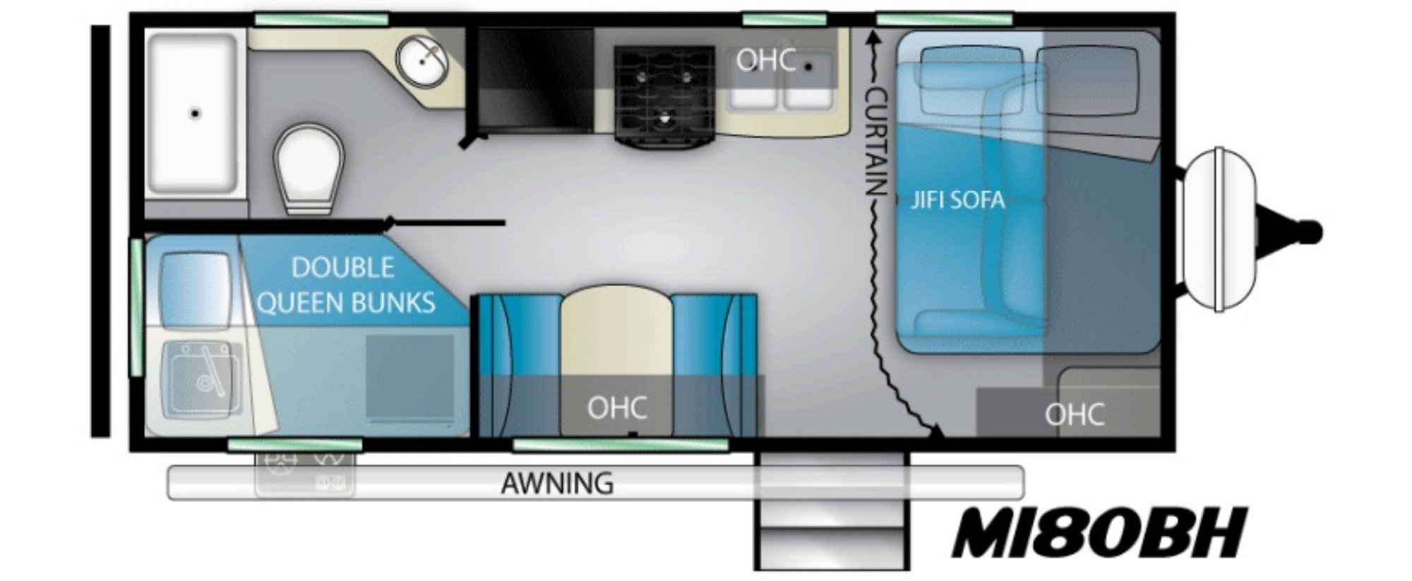 View Floor Plan for 2021 HEARTLAND MALLARD M180BH