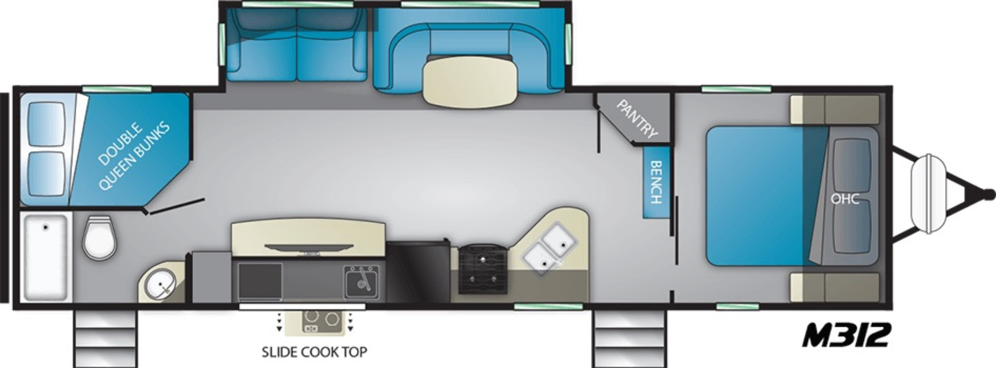 View Floor Plan for 2021 HEARTLAND MALLARD M312