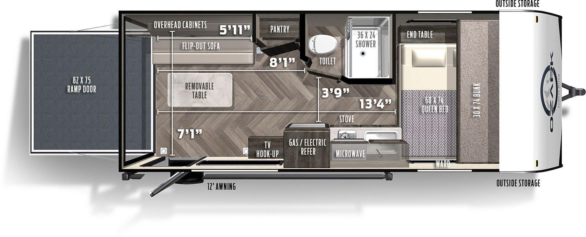 View Floor Plan for 2021 FOREST RIVER OZARK 1700TH