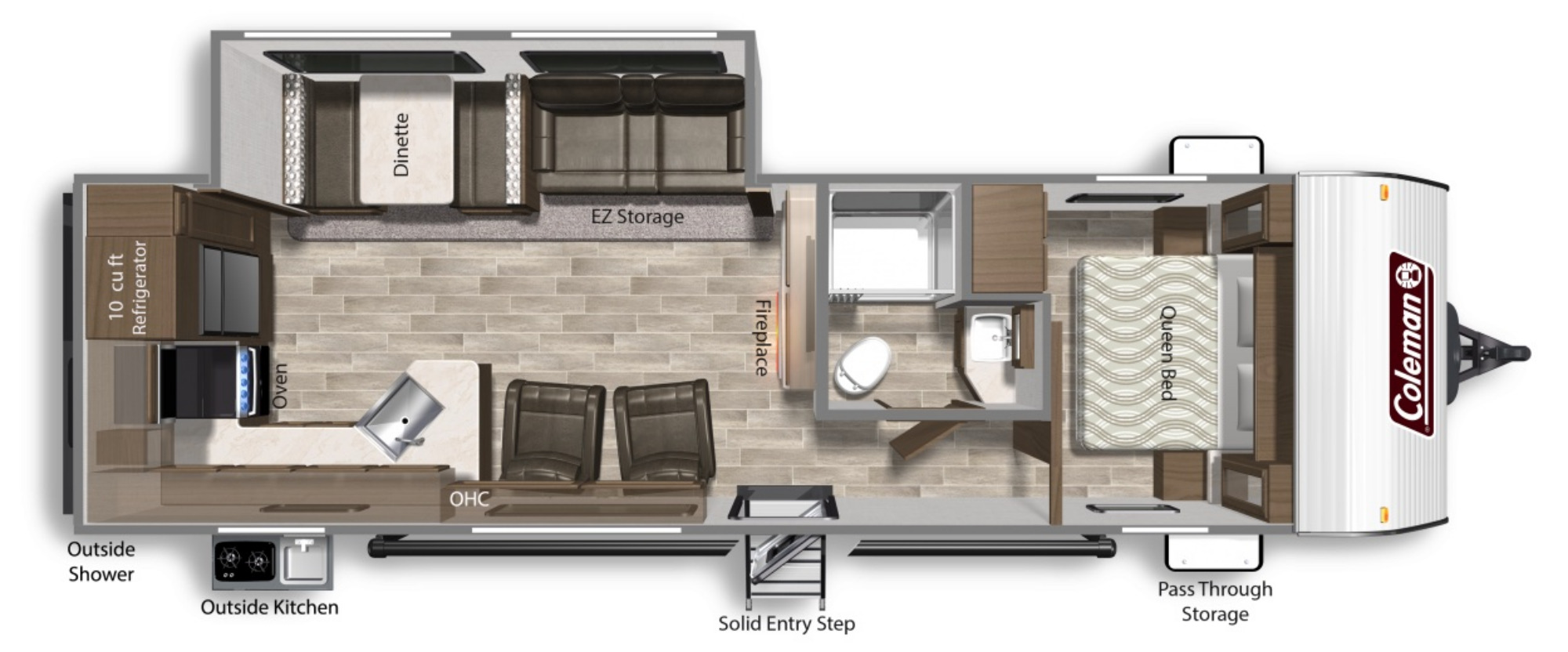 View Floor Plan for 2021 COLEMAN COLEMAN LANTERN 286RK
