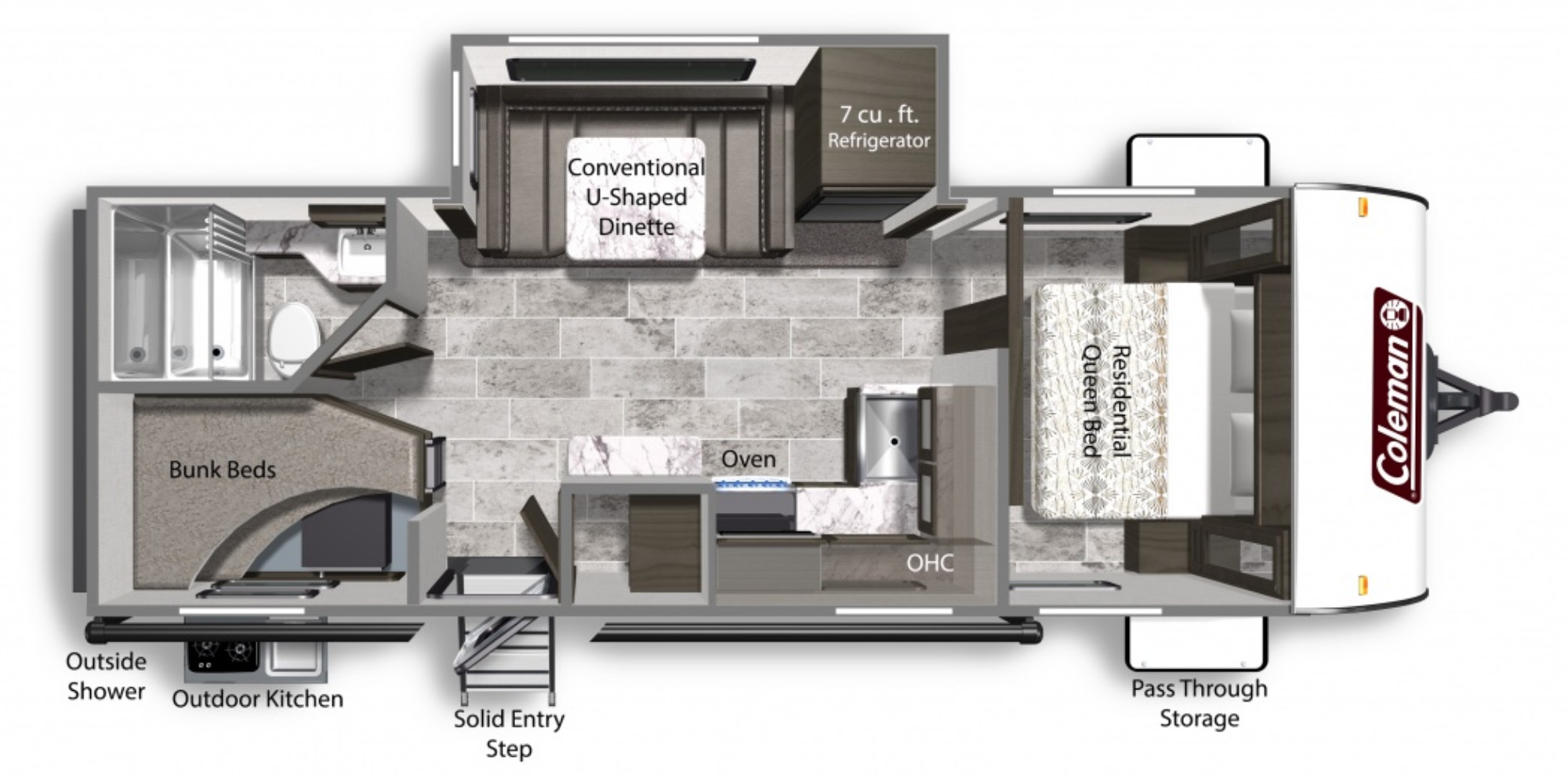 View Floor Plan for 2021 COLEMAN COLEMAN LIGHT 2455BH