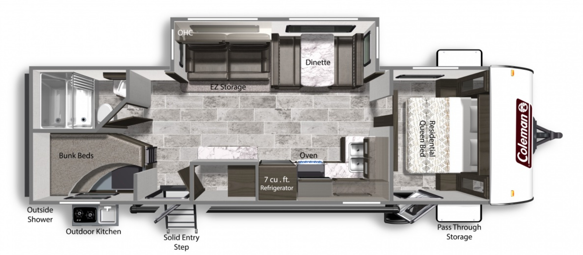 View Floor Plan for 2021 COLEMAN COLEMAN LIGHT 2835BH
