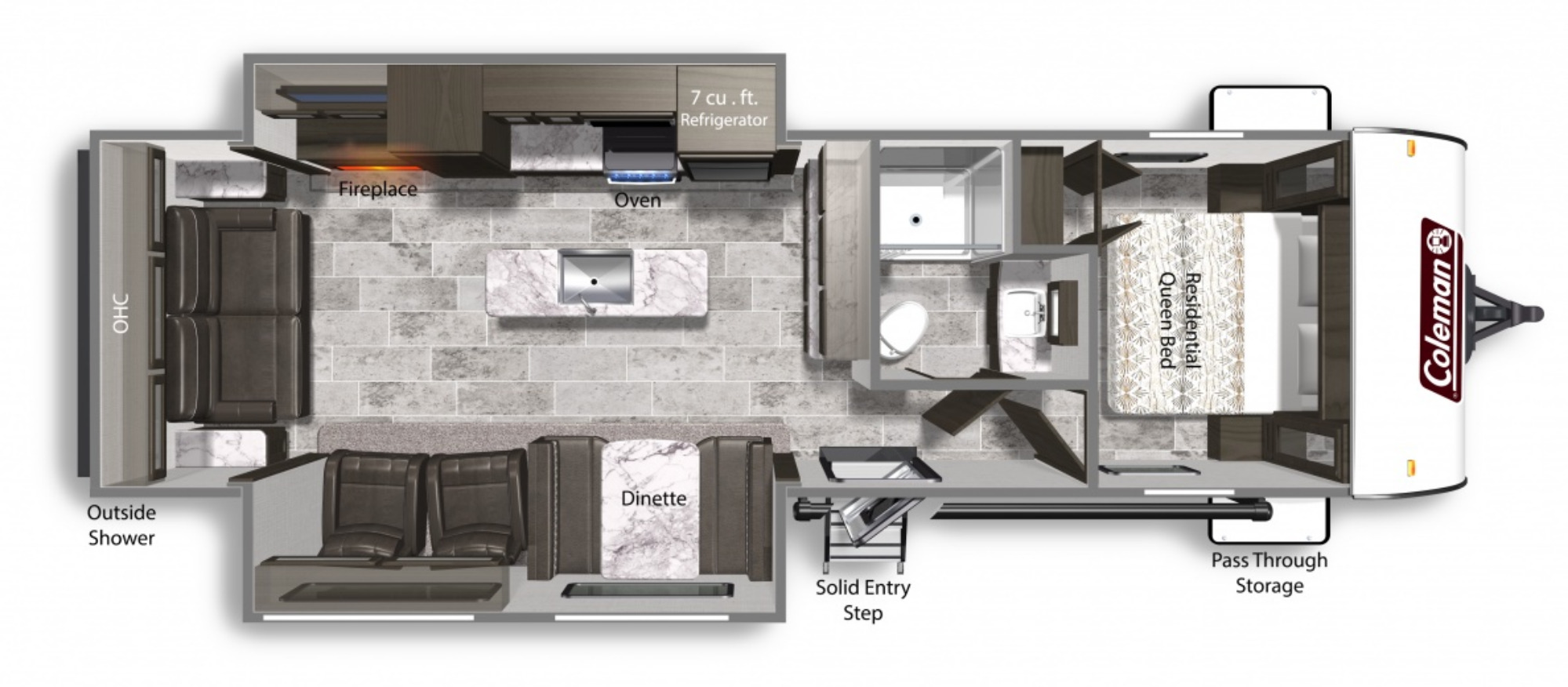View Floor Plan for 2021 COLEMAN COLEMAN LIGHT 2955RL
