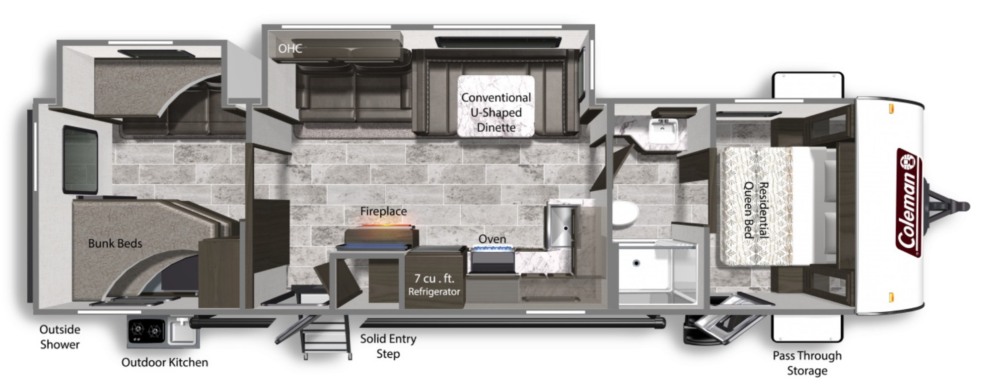 View Floor Plan for 2021 COLEMAN COLEMAN LIGHT 3215BH