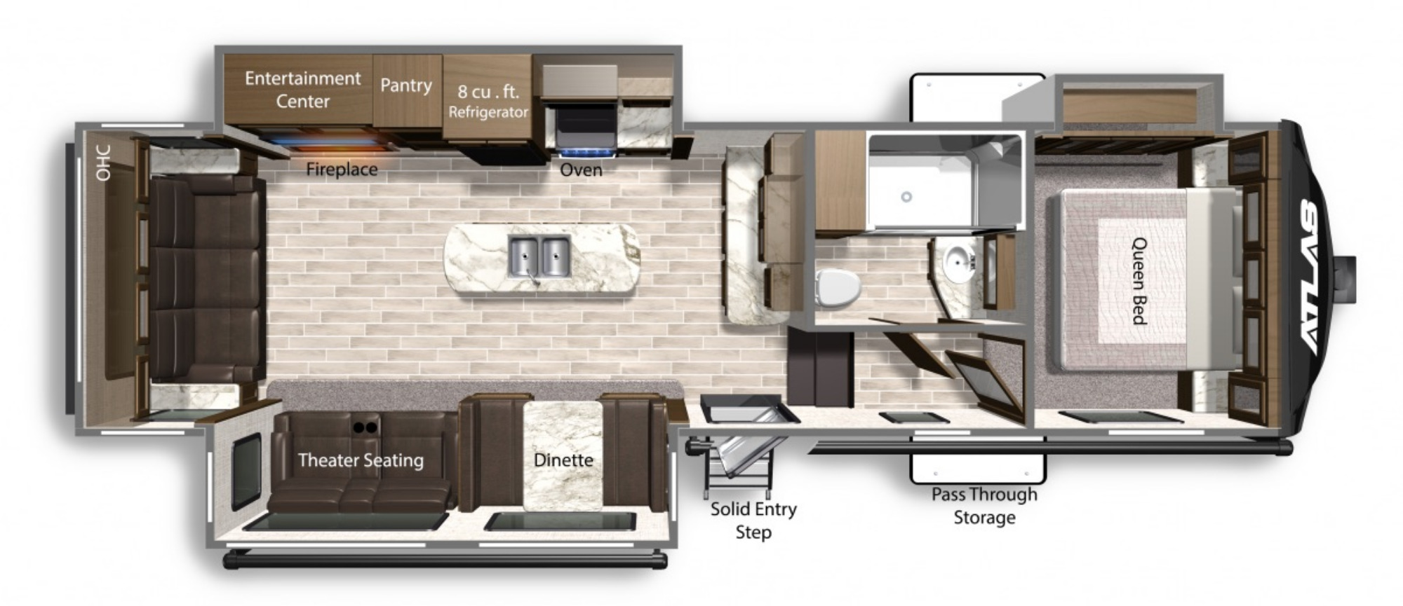 View Floor Plan for 2021 DUTCHMEN ATLAS 2992RLF