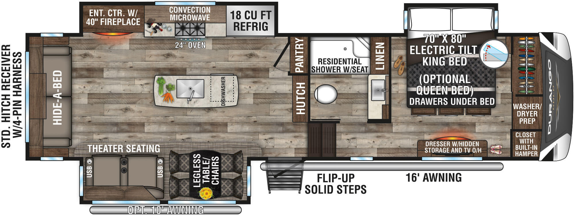 View Floor Plan for 2021 K-Z RV DURANGO GOLD 356RLT