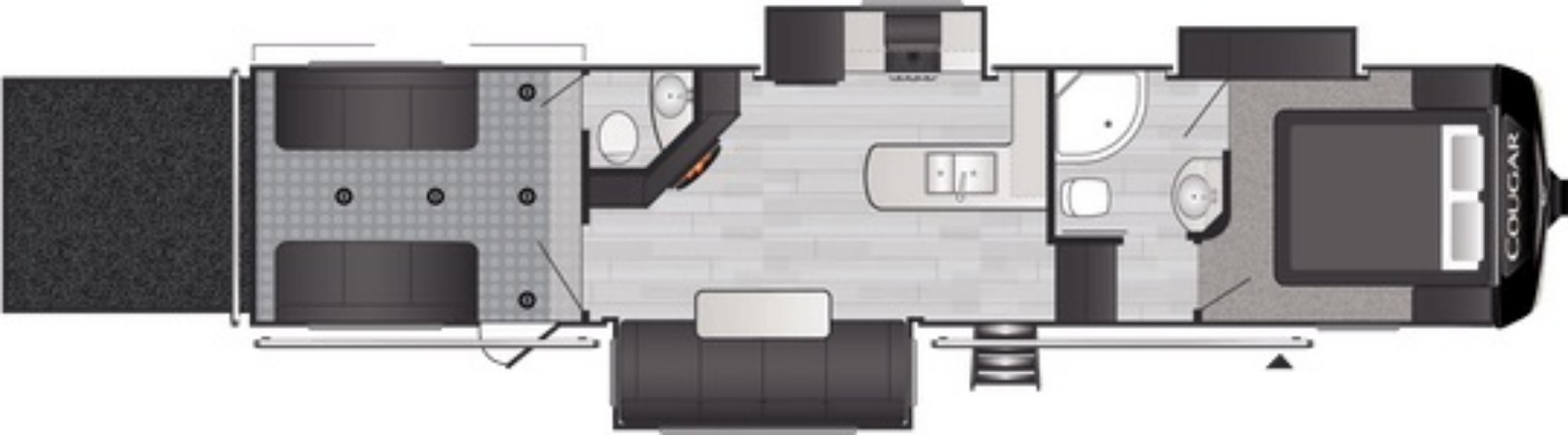 View Floor Plan for 2021 KEYSTONE COUGAR 353SRX