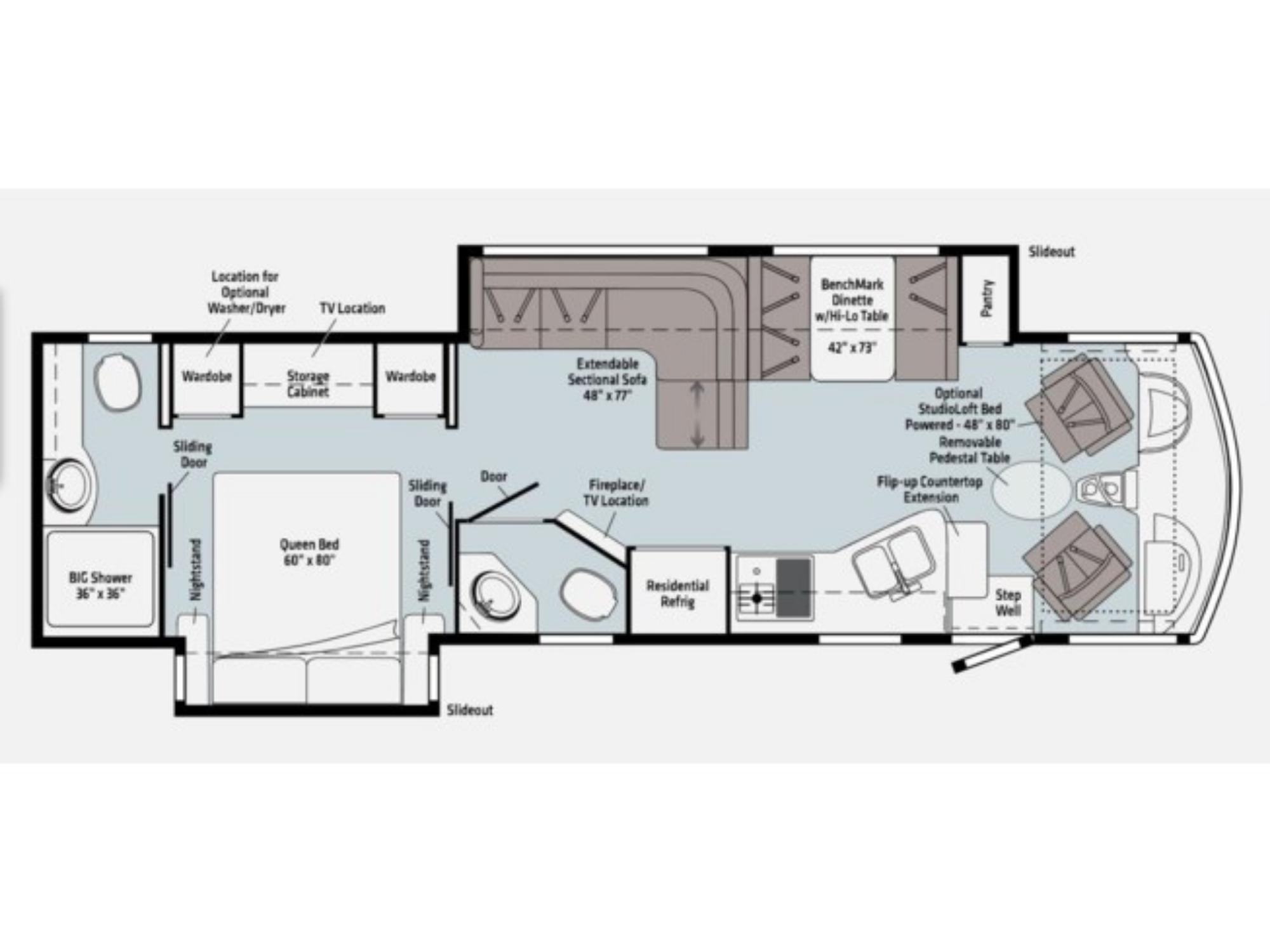View Floor Plan for 2021 WINNEBAGO ADVENTURER 35F