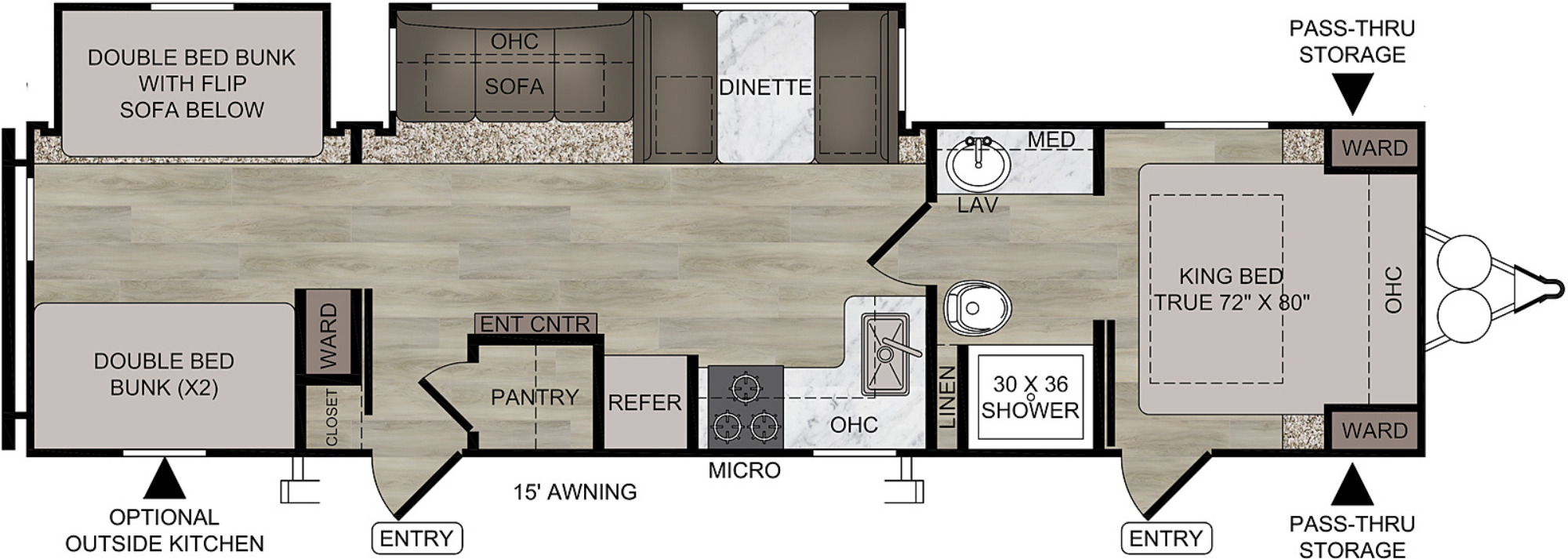 View Floor Plan for 2021 EAST TO WEST DELLA TERRA 312BH