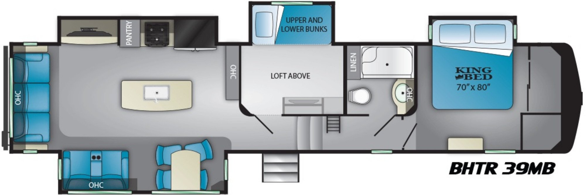 View Floor Plan for 2021 HEARTLAND BIGHORN TRAVELER 39MB