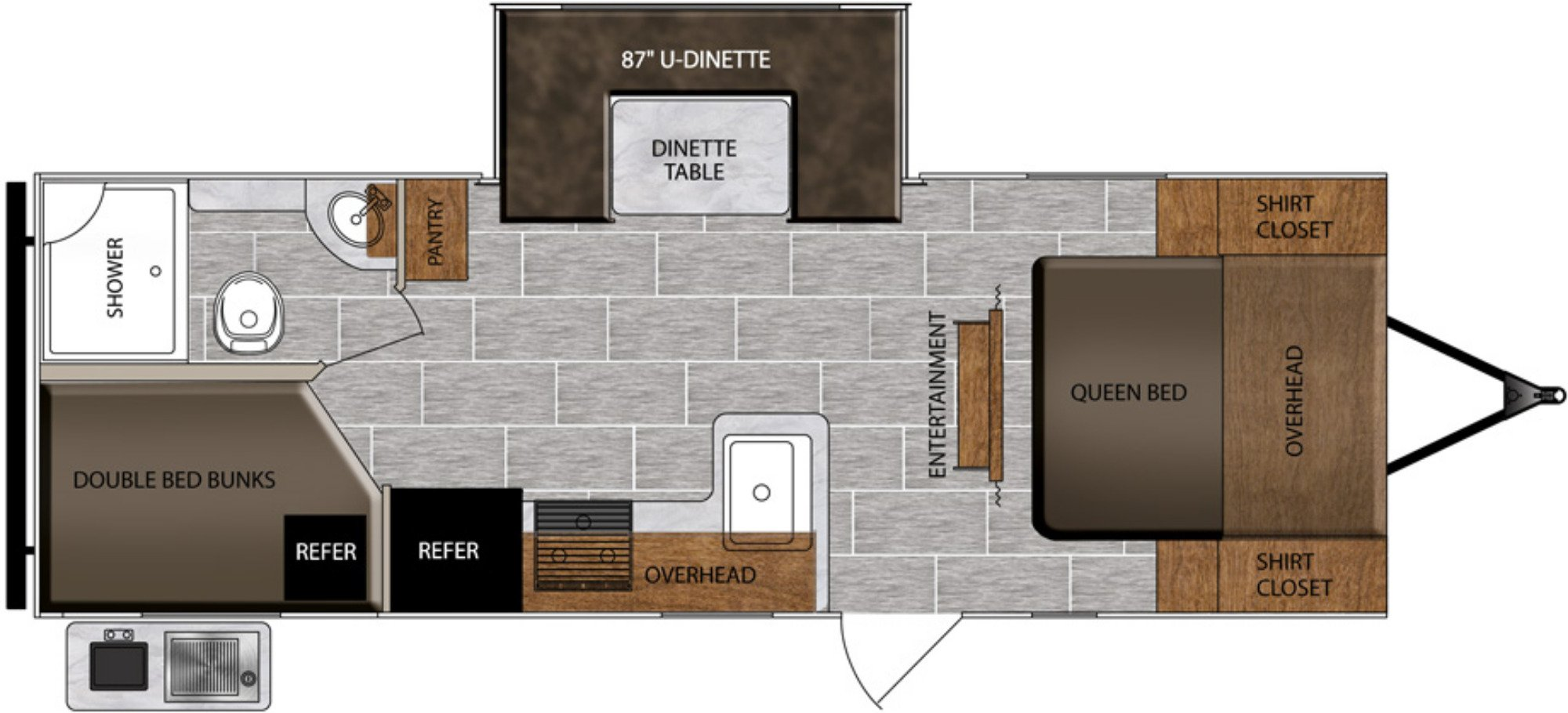 View Floor Plan for 2021 PRIME TIME TRACER 24DBS