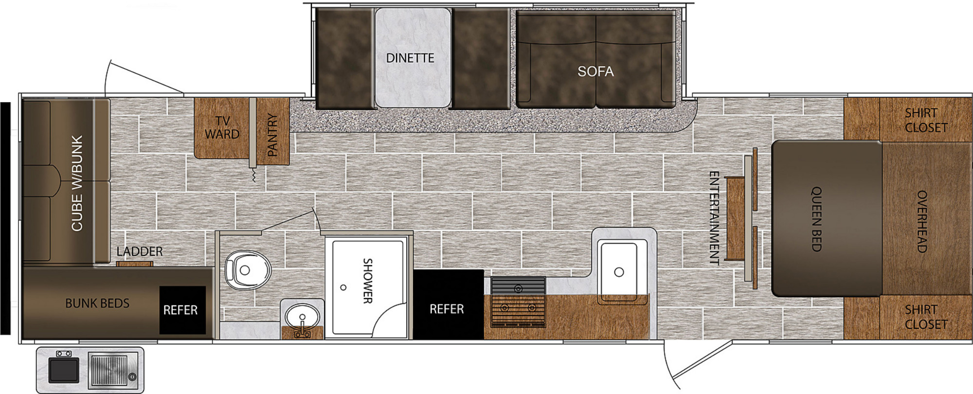 View Floor Plan for 2021 PRIME TIME TRACER 29QBD