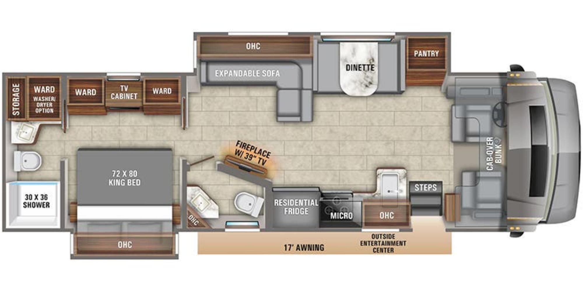 View Floor Plan for 2021 ENTEGRA COACH ACCOLADE 37K