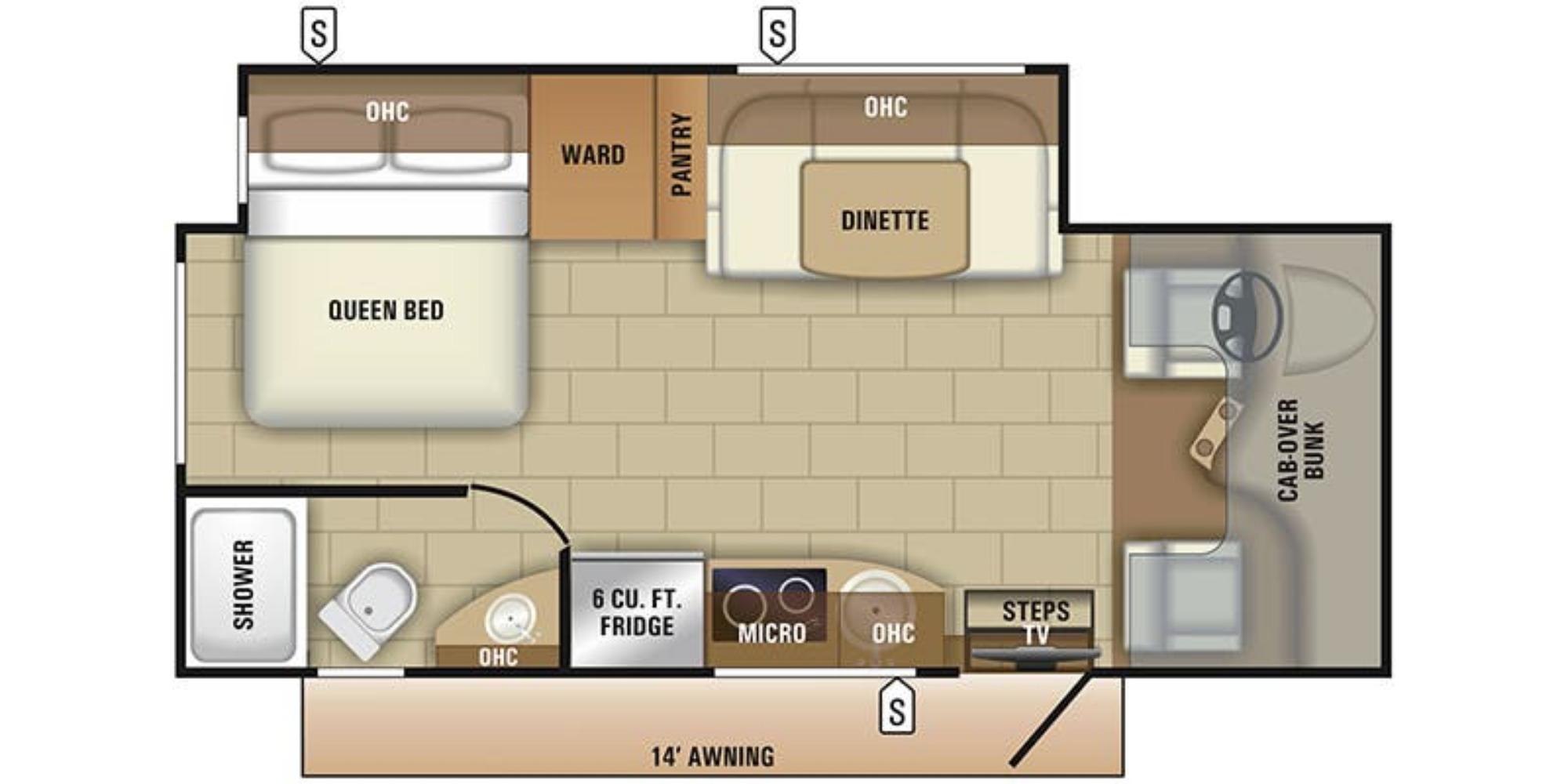 View Floor Plan for 2021 ENTEGRA COACH QWEST 24L