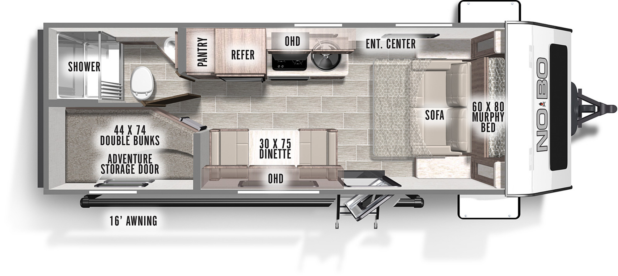 View Floor Plan for 2021 FOREST RIVER NO BOUNDARIES ROGUE RIVER 19.3